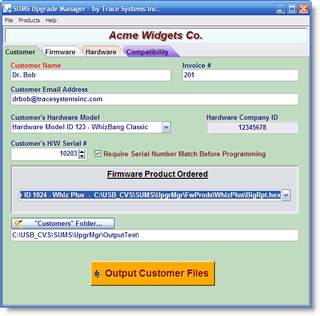 Creating and emailing a firmware upgrade is easy - just fill out a form and click the big orange button!